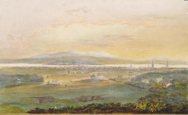 John Elliot Woolford, Montreal from the mountain, on the race course, v. 1819-1821Musée des beaux-arts du Canada (23416)