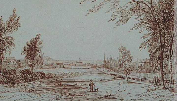 : Vue du Mile End, Montréal, James Duncan, 1831 (http://www.musee-mccord.qc.ca/fr/collection/artefacts/M686)