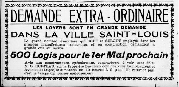 La famille Beaubien profite aussi de l'ouverture de la manufacture Peck pour vendre des lots sur ses terrains environnants. La Patrie, 18 juin 1904.