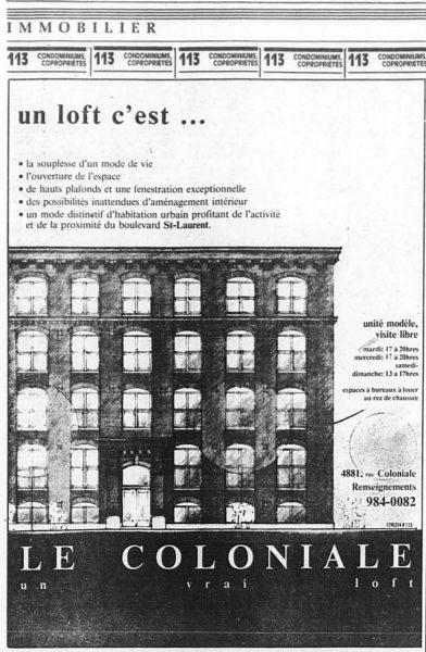 Publicité pour les lofts «Le Coloniale»