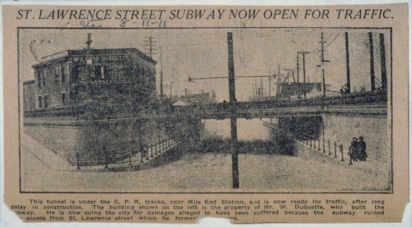 Le passage de la rue Saint-Laurent est ouvert à la circulation. Montreal Star, 8 novembre 1911 [BAnQ]