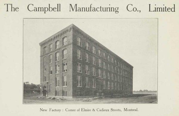 L'édifice au moment de sa construction, vers 1909, vu depuis l'intersection Coloniale / Elmire