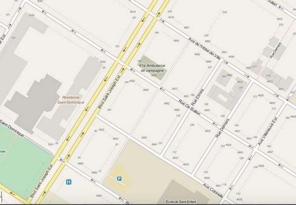 Figure 3 - Emplacement de la carrière/dépotoir de Louis Beaubien (OpenStreetMap.org)