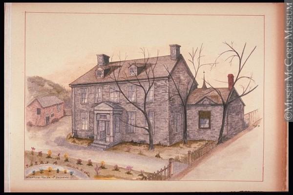 «Durham House», la maison offerte par John Clark à Stanley Bagg et Mary-Ann Clark comme cadeau de mariage en 1819. Située à l'intersection sud-ouest de l'actuelle rue Prince-Arthur et du boulevard Saint-Laurent. (Aquarelle de John Hugh Ross, 1891, musée McCord.)