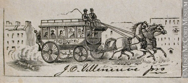 Period advertisement for the Villeneuve omnibus (McCord Museum).