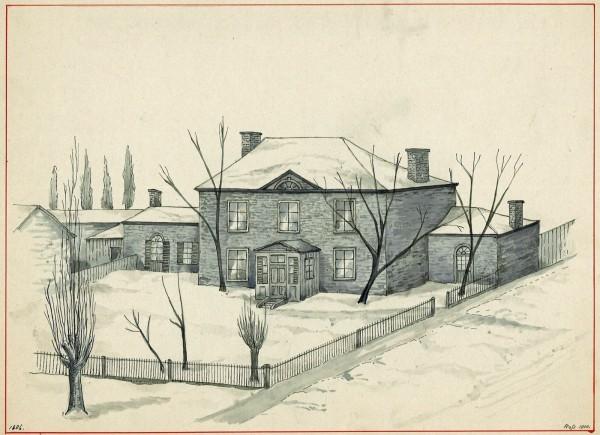 «Mile End Lodge». Située sur Saint-Laurent, côté ouest, juste au nord de l'actuelle rue Bagg. John Clark a acheté la ferme environnante en 1804 et y a vécu jusqu'à son décès en 1827. Alors située au milieu des champs, son entrée principale fait face à la ville, plutôt qu'au chemin Saint-Laurent (Aquarelle de John Hugh Ross, musée Stewart, 1970.1847)