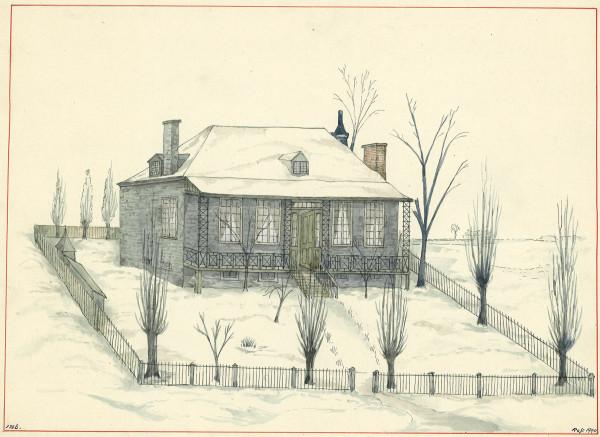 «Mitcheson Cottage». La petite maison fut construite au coin nord-ouest des actuelles rues Clark et Bagg pour la veuve de John Clark, Mary Mitcheson. Musée Stewart.