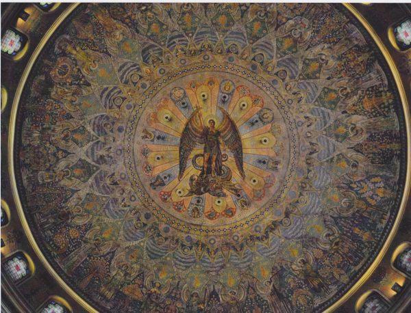 L'intérieur du dôme de l'église. Fresque de Guido Nincheri. Photo : Justin Bur.