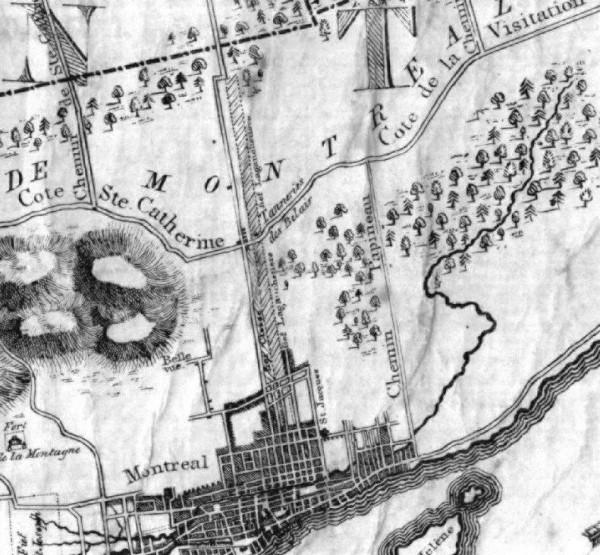 André Jobin, Carte de l'île de Montréal (extrait), 1834. BAnQ