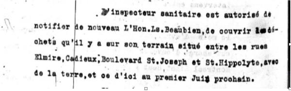 Figure 2 - Procès-verbal du conseil de ville Saint-Louis, 21 mai 1907. La rue Cadieux correspond à l'actuelle rue de Bullion et St. Hippolyte à Coloniale (AVM, AVSL, P28/A1,6.)