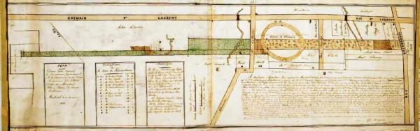 Plan des terres de la Providence 1822 – Charles Turgeon. Archives des religieuses hospitalières de Saint-Joseph