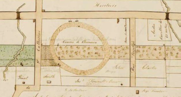 Plan des terres de la Providence (detail) - Two platforms, festooned with flags, were located along Saint-Laurent Road. Saint-Laurent Road is just above, crossed by two bridges. The Mile End Tavern was located at the northwest corner of the intersection of this road and St-Catherine's Road.