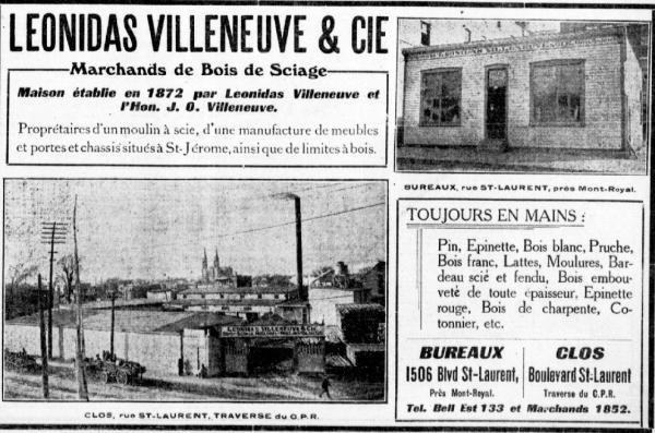 Ad for «Léonidas Villeneuve & Cie» (La Patrie, mai 1909)