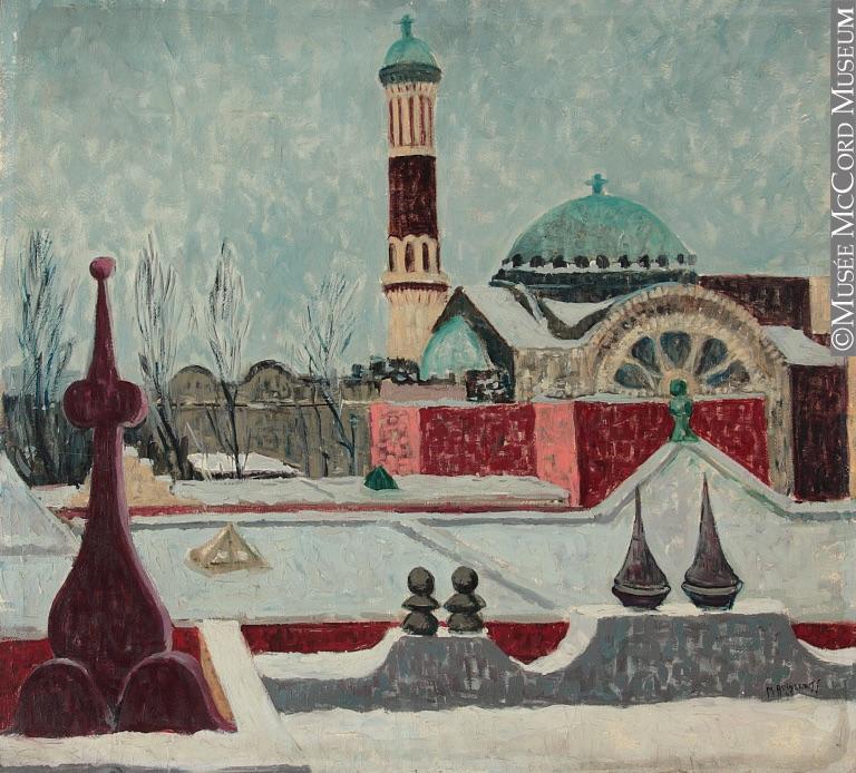 St. Michael's Church, 1945. Painting by Moe Reinblatt. McCord Museum, M993.138.5