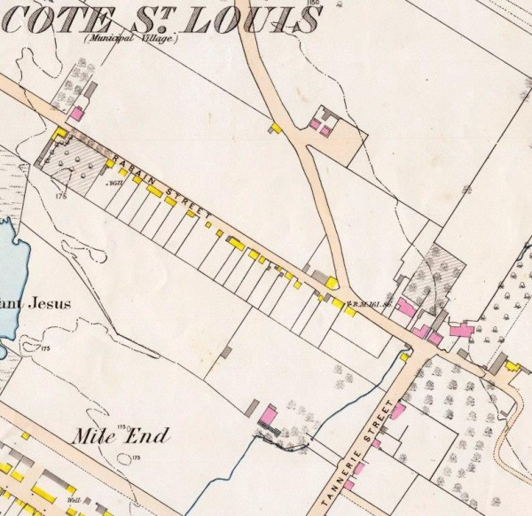 La tannerie des Bélair, intersection des rues Tannerie (Mont-Royal) et Rabain (Henri-Julien). La ligne bleue indique le ruisseau en provenance du Mont-Royal qui la traversait. Fortifications Survey, 1869. Bibliothèque et Archives Canada.