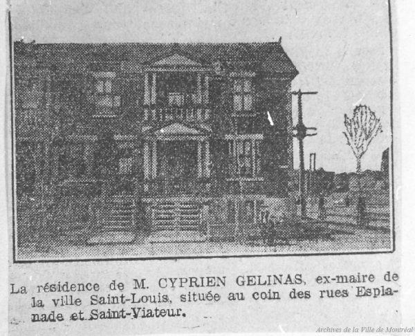 Résidence de M. Cyprien Gélinas, ex-maire de Ville Saint-Louis. La Patrie, 29 mai 1909, p. 15